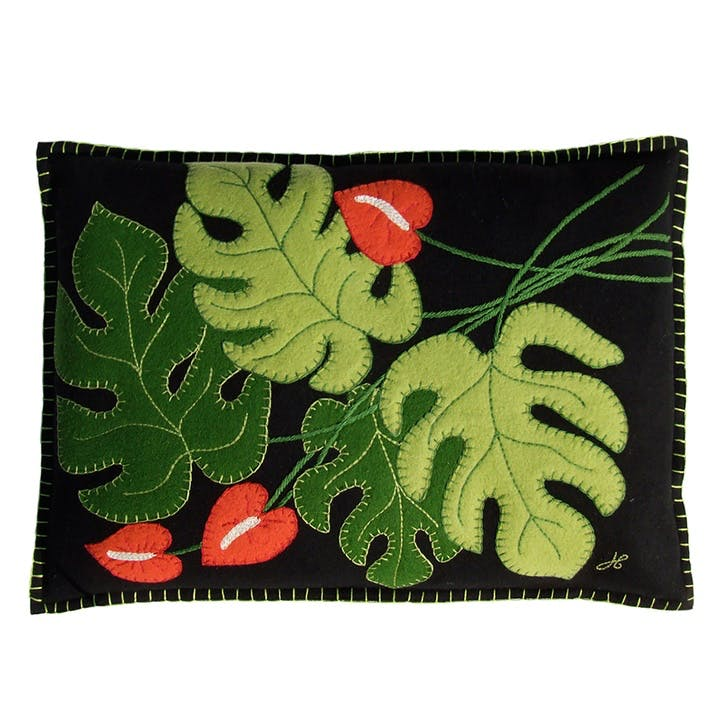 Tropical Cheese Plant Cushion, 48 x 35cm, Black