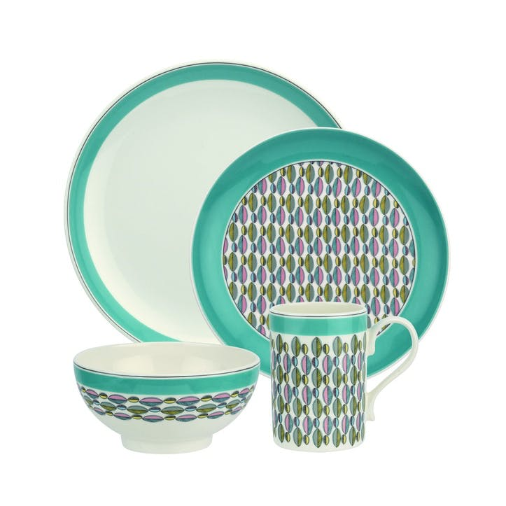 Westerly Four Piece Dinnerware Set; Turquoise Band