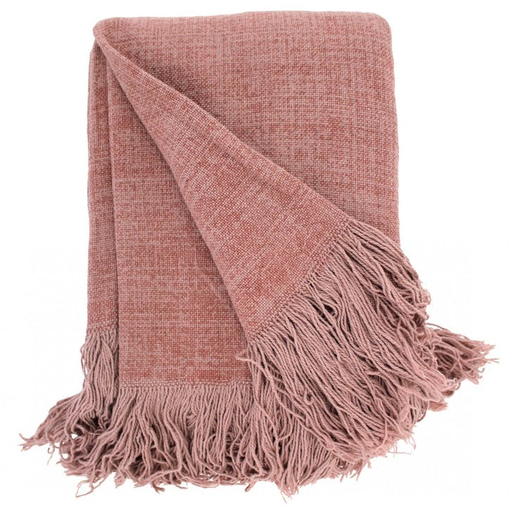 Jute Cotton Throw, Pink