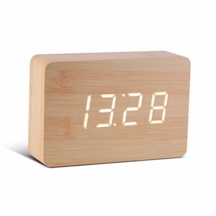 Brick Click Clock Beech/ White LED, 15cm