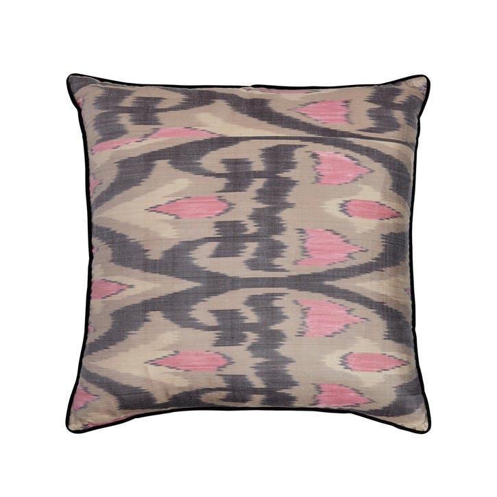 Grey Silk Ikat Cushion, Square