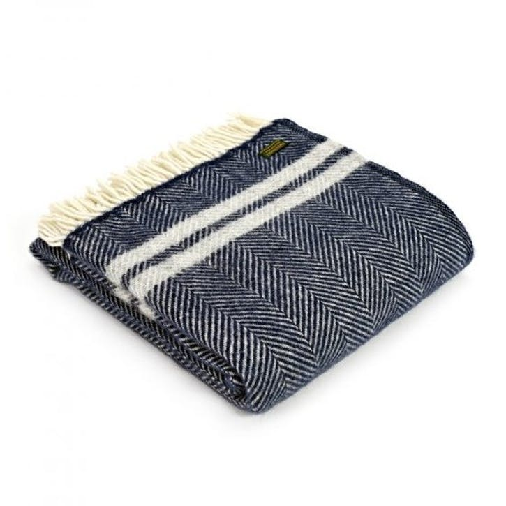 Fishbone 2 Stripe Throw; Navy & Silver Grey