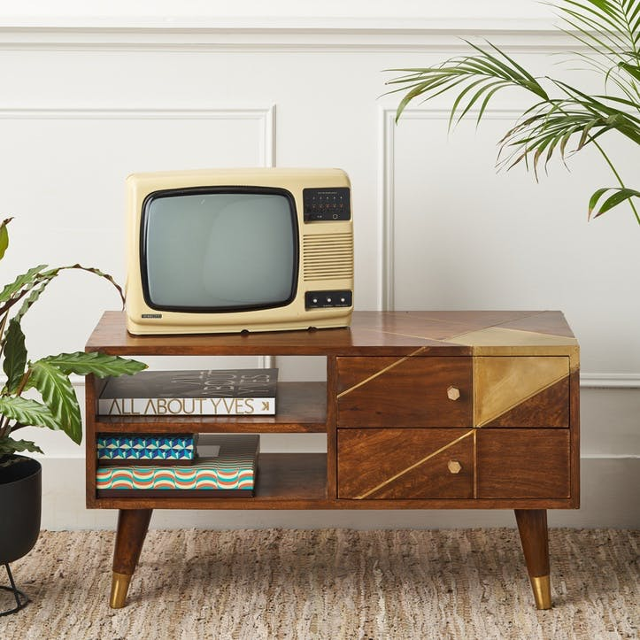 Geometric Brass & Chestnut Media Unit
