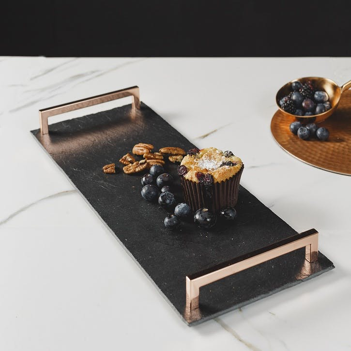 Small Slate Serving Tray with Copper Handles