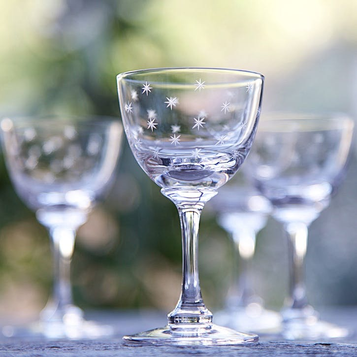 Stars Crystal Liqueur Glasses, Set Of 6