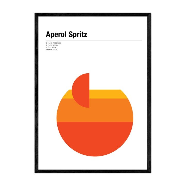 Nick Barclay, Aperol Spritz, Framed Art Print, H61 x W44 x D2cm, Black