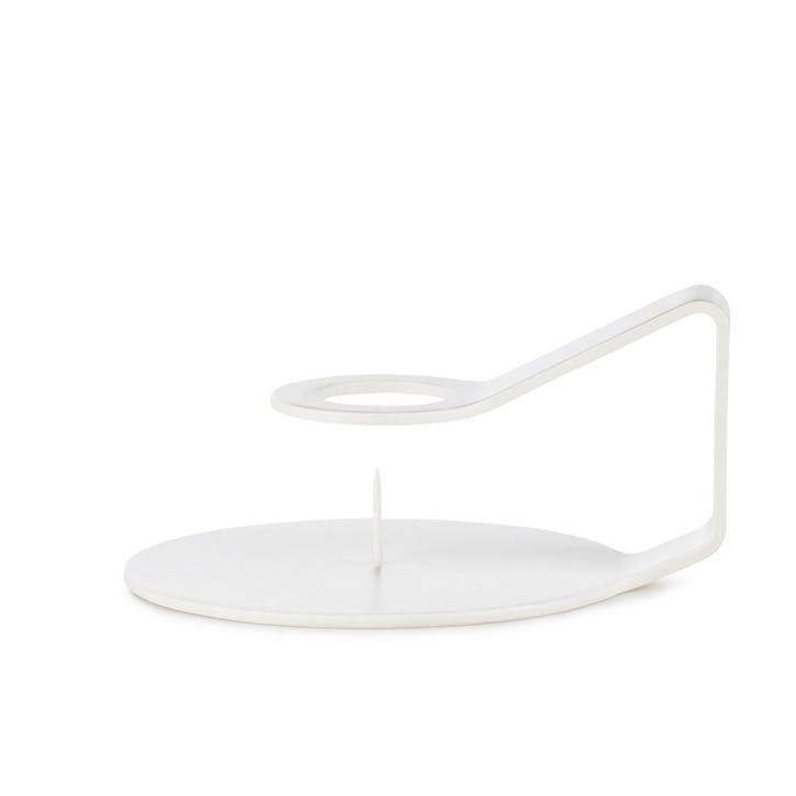Nocto Pair of Candlestick Holders  L12 x D10.2 x H6cm White