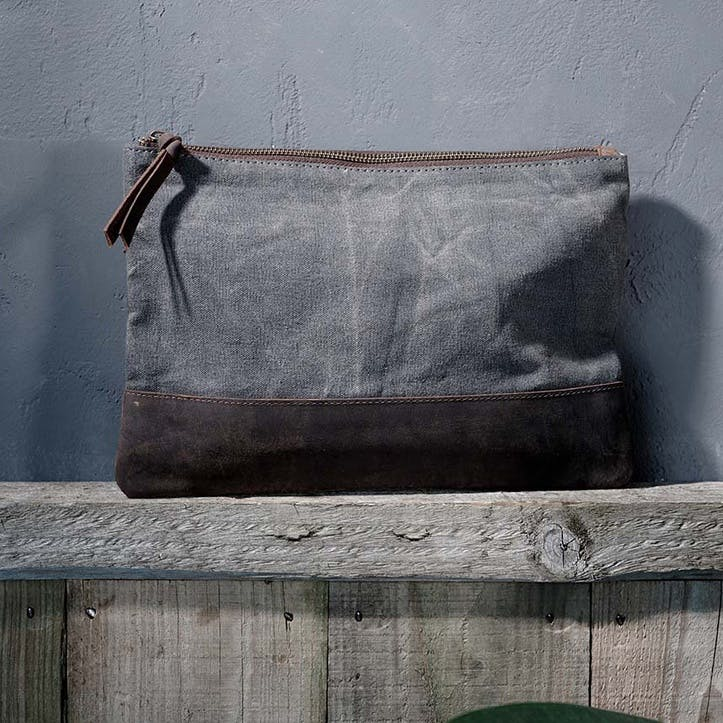 Dara Canvas And Leather Pouch - Large
