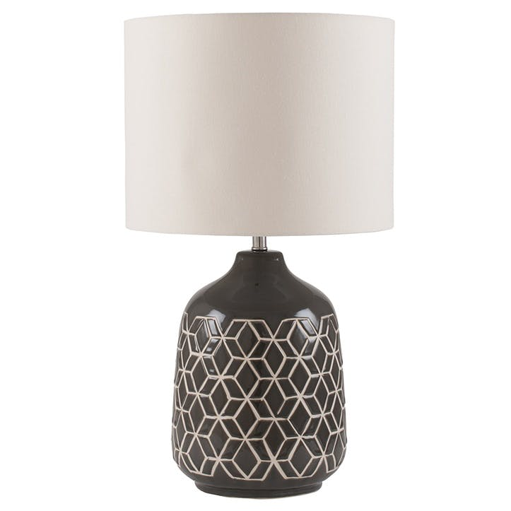 Athena Geo Ceramic Table Lamp; Dark Grey
