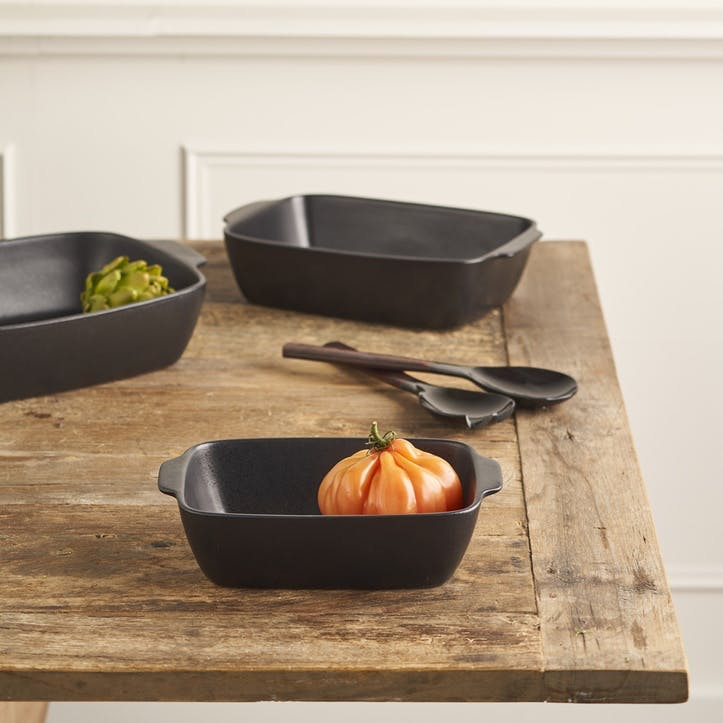 Matte Black Stoneware Oven Dish, Small