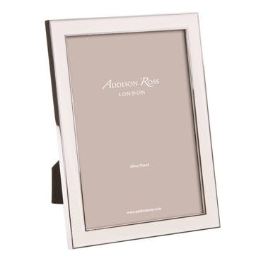 "Silver Plate Enamel Photo Frame - 8"" x 10""; White"
