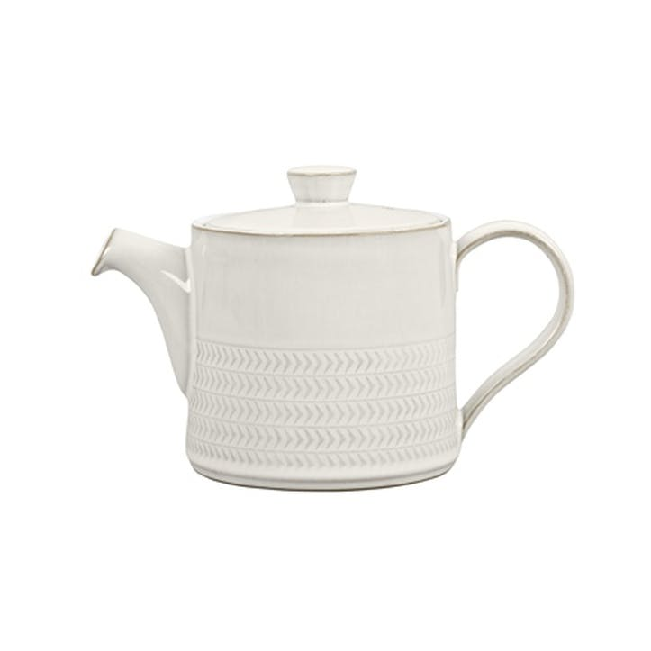 Natural Canvas Textured Teapot, 920ml, Cream