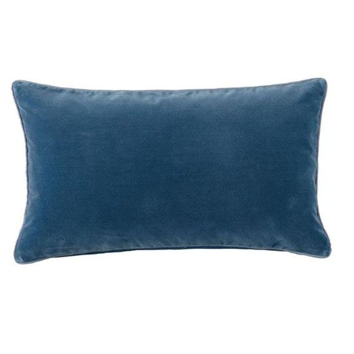 Rectangular Plain Velvet Cushion, Sea Blue