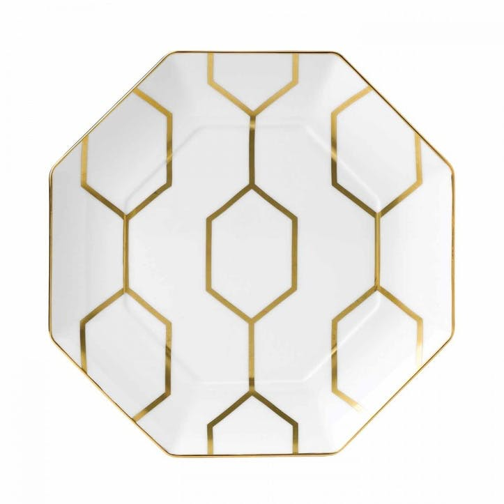 Arris White Octagonal Side Plate, 23cm
