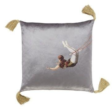Trapeze Girl Velvet Cushion, Shark Grey