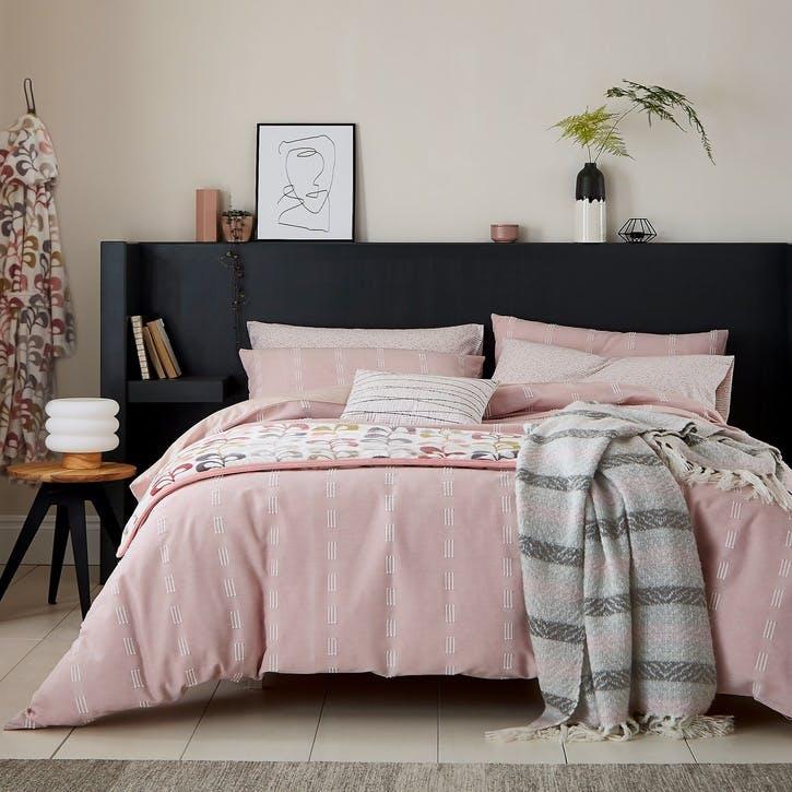 Chambray Super King Bedding Set, Blush