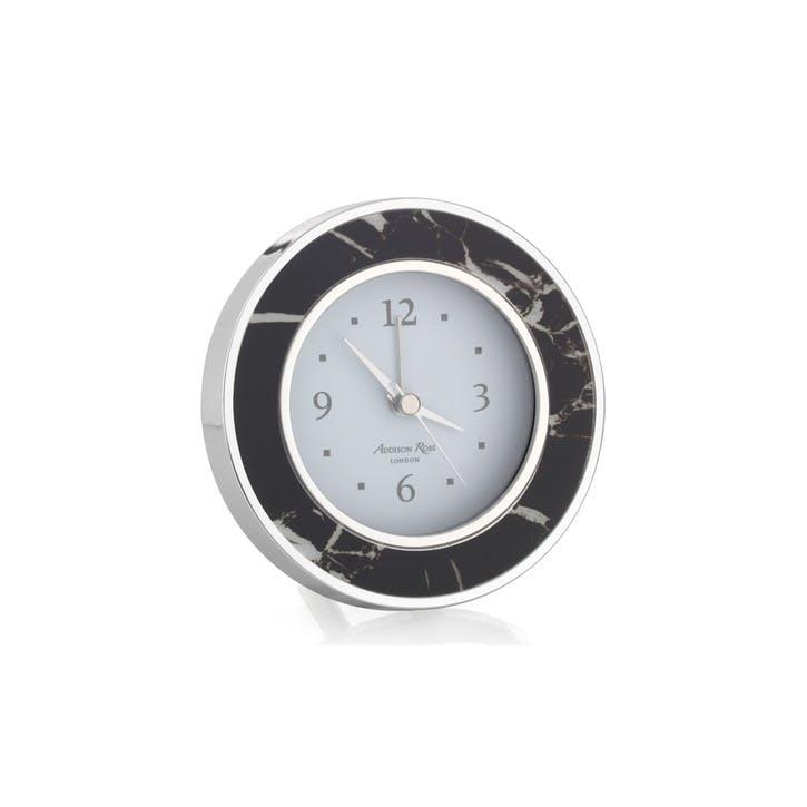 Alarm Clock; Black Marble & Silver