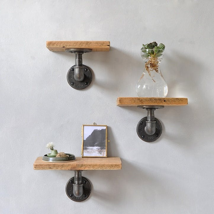 Reclaimed Wood Pipe Shelves, Set of 3; Natural
