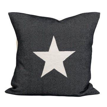 Large Antares Star Cushion -  50cm; Linen On Black,
