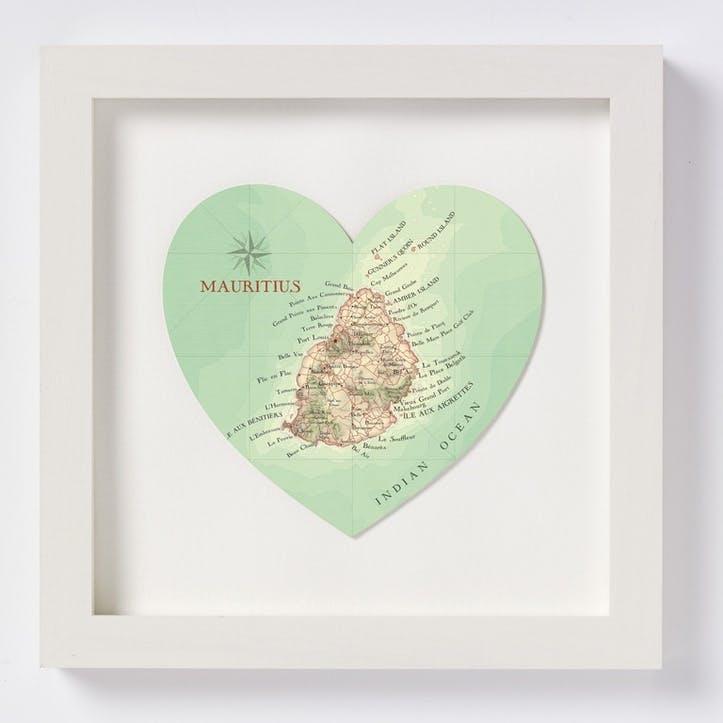 Mauritius Framed Map Print, 28cm