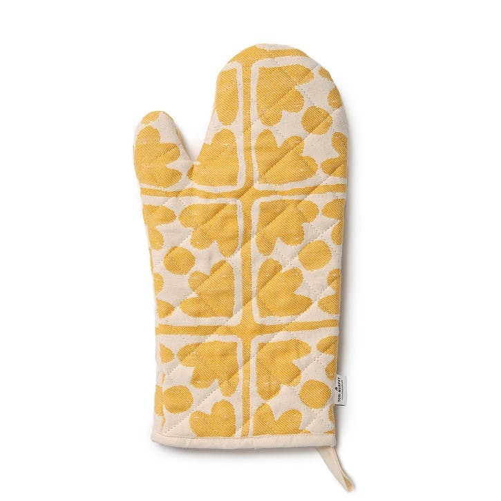 Bloom Oven Glove; Mustard and Cream