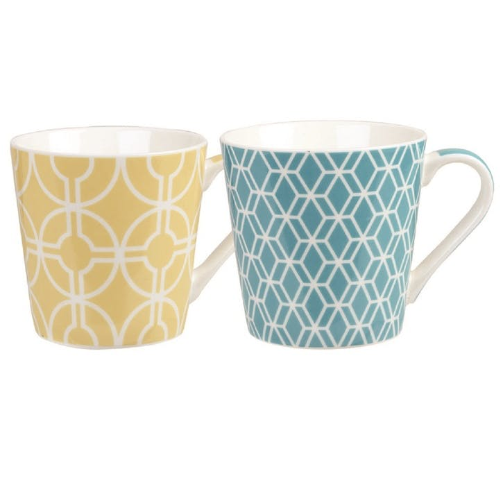 Couture Geometrics Deco Bumble Mugs, Set of 2