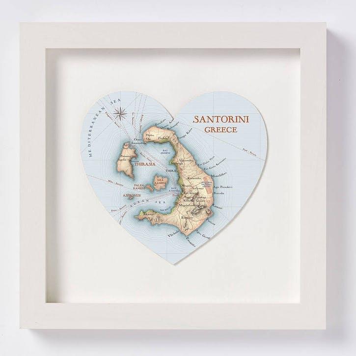 Santorini Map Print, 28cm