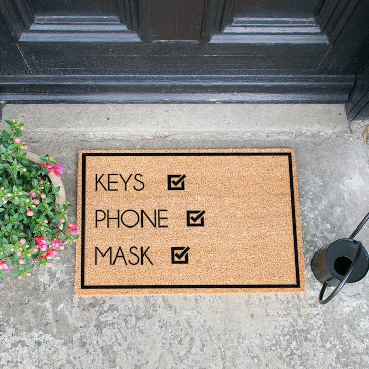 Keys, Phone, Mask, Doormat