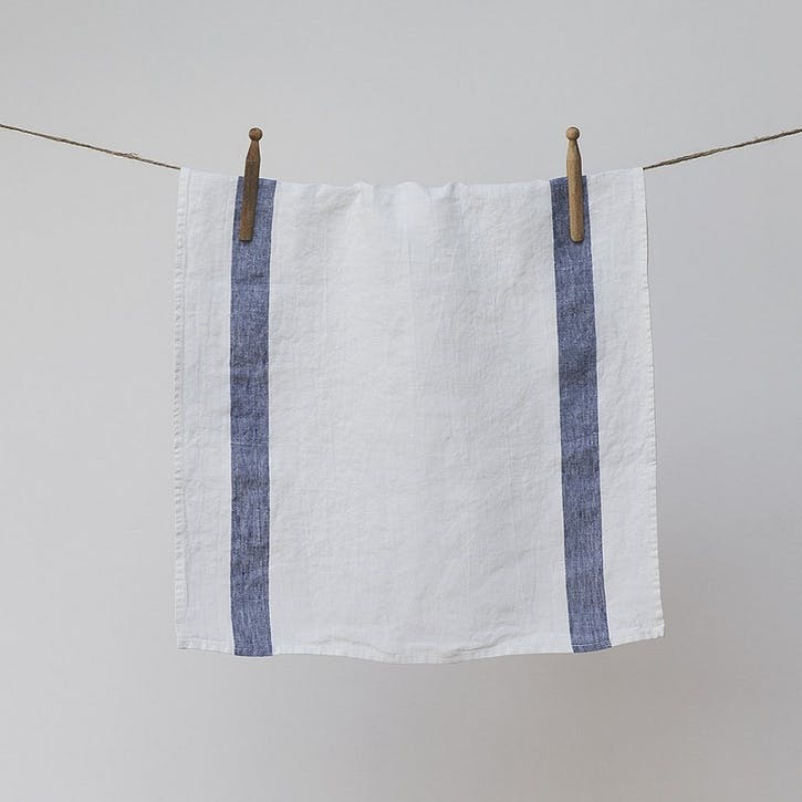 Arles Tea Towel, Navy Stripe
