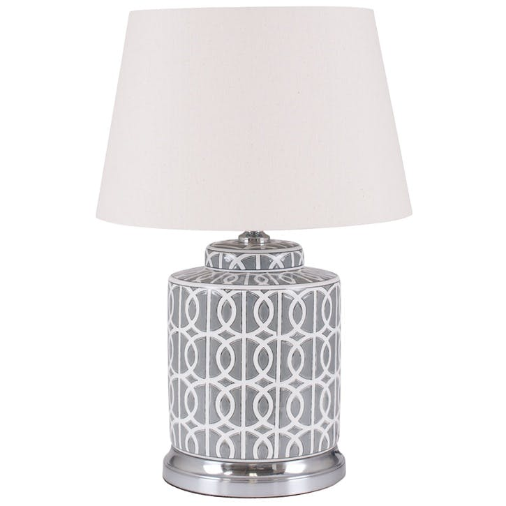Aris Geo Pattern Table Lamp - Short; Grey & White