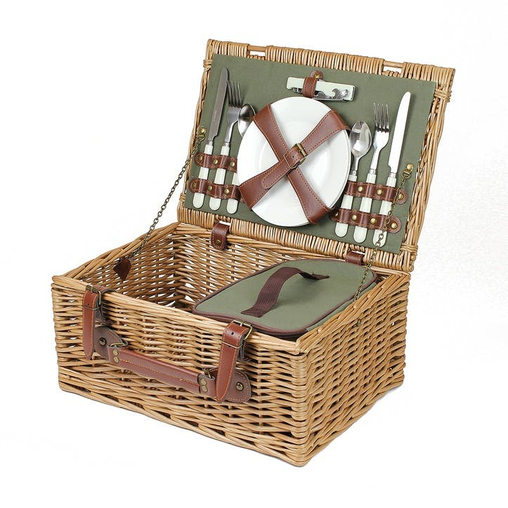 Country Fitted Picnic Hamper, 2 Person, Sage Green