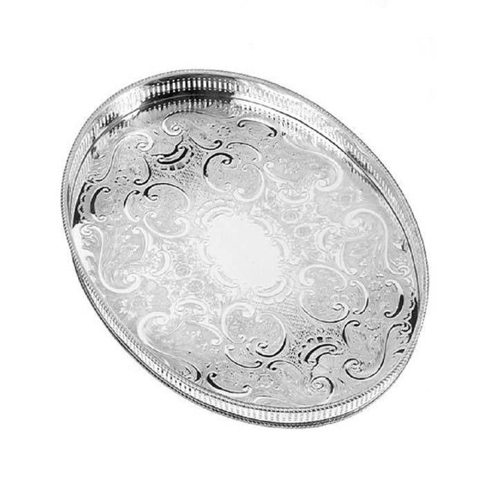 15.25″ Silver Plated Oval Mounted Gallery Tray