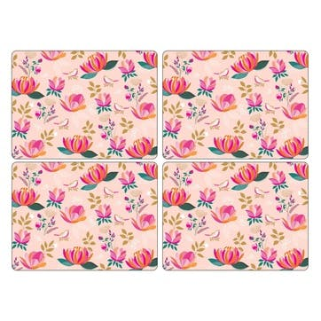 Peony Collection Large Placemats, Set of 4, Pink