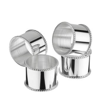 Set of 4 Silver Plated Napkin Rings with Beaded Border