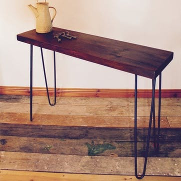 Industrial Style Console Table - 100 x 29.5cm; Dark Finish