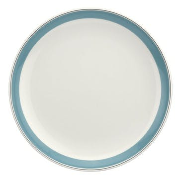 """Westerly Coupe Plate, Set of Four - 10.5""""; Turquoise Band"""