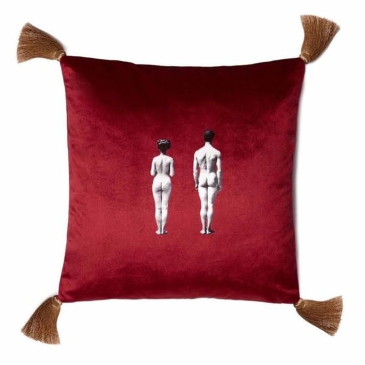 The Models Velvet Cushion, Berry Red