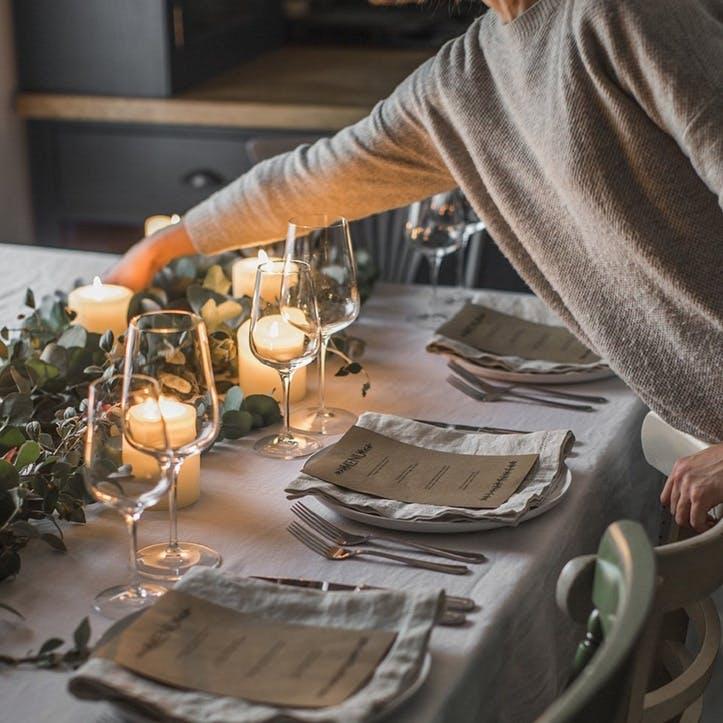 Mitered Hem Tablecloth, Dove Grey, 160 x 375cms
