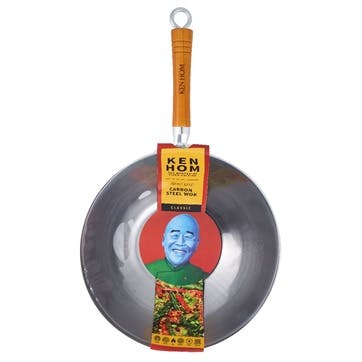 Classic Stainless Carbon Steel Wok, 32cm