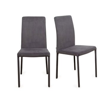 Bronte Pair of Dining Chairs Plush Velvet Asphalt