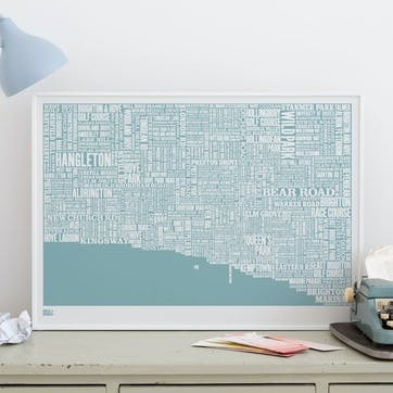 Type Map Screen Print Brighton, 50cm x 70cm, Coastal Blue