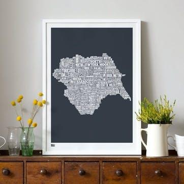 Type Map Screen Print Yorkshire, 50cm x 70cm, Sheer Slate