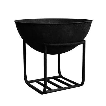 Outdoor Cast Iron Firebowl On Stand, W57cm, Black