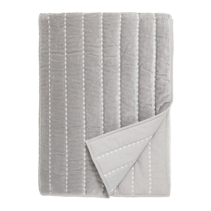 Cosy Velvet Bedspread, Grey