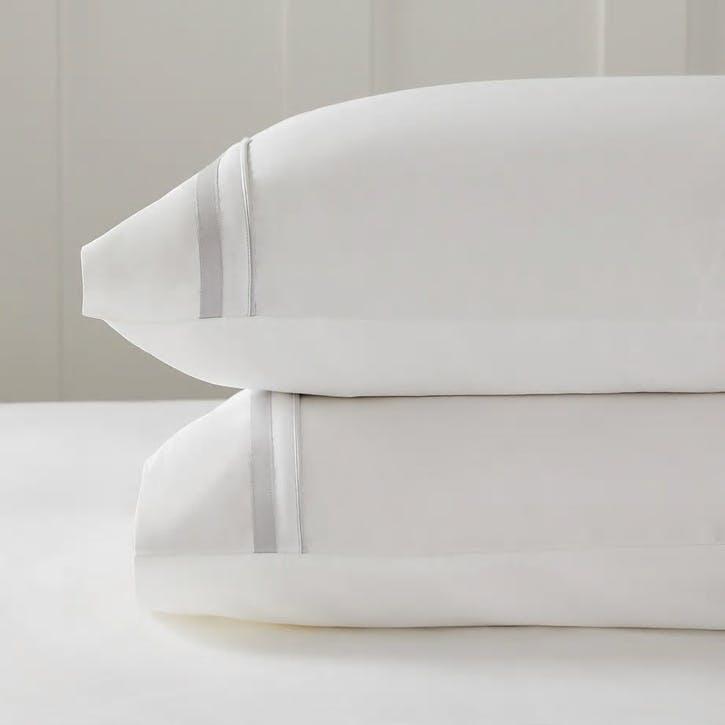 Cavendish Pillowcase, Standard, Silver