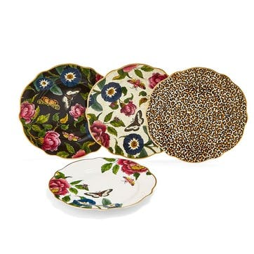 Cake Plates, Set of 4, Floral/Leopard