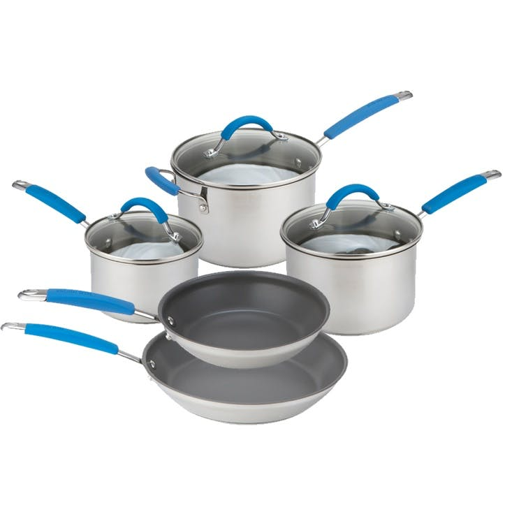 Quick & Even Stainless Steel Pan Set - 5 Piece; Blue