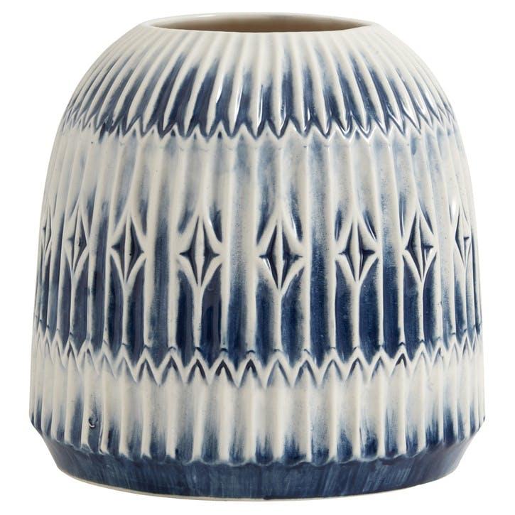 Blue Rill Round Vase