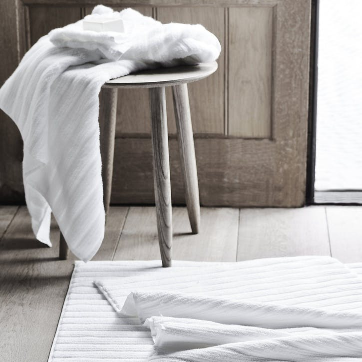 Hydrocotton Ribbed Towel, Face Cloth, White