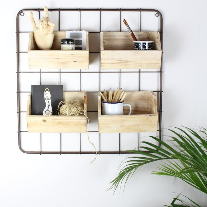 Wood and Metal Wall Rack